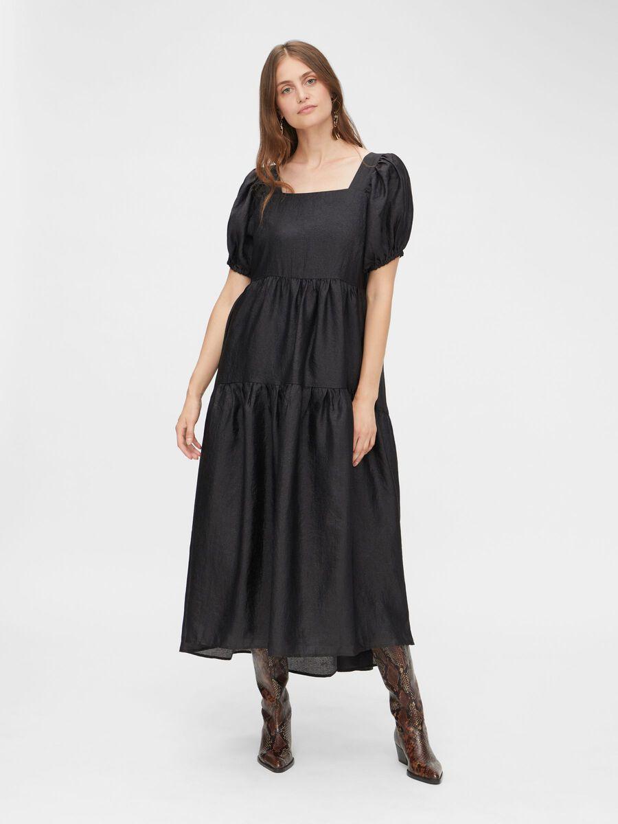 YASLORA SHORT SLEEVED DRESS, Black, highres