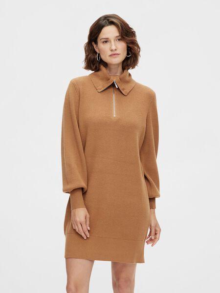 Y.A.S YASDALMA KNITTED DRESS, Tobacco Brown, highres - 26024412_TobaccoBrown_003.jpg