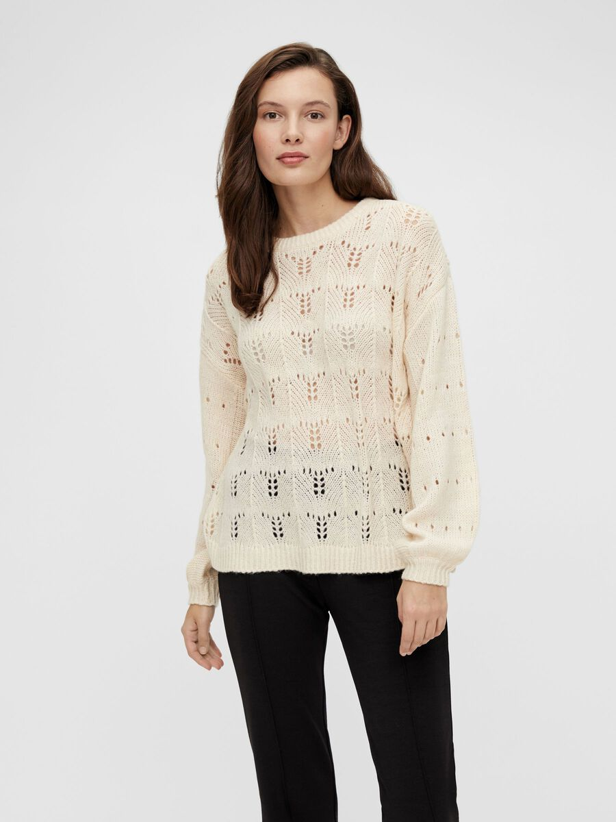 KNITTED PULLOVER, Creme, highres