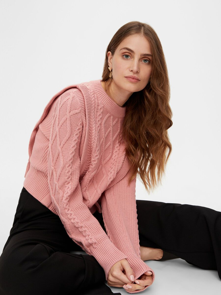 YASBLESHA KNITTED PULLOVER, Blush, highres