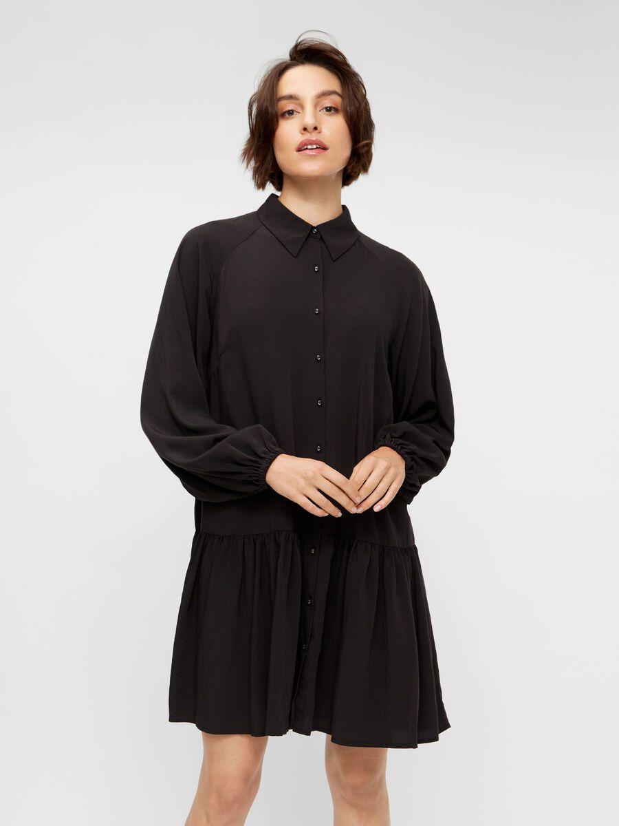YASLINA SHIRT DRESS, Black, highres