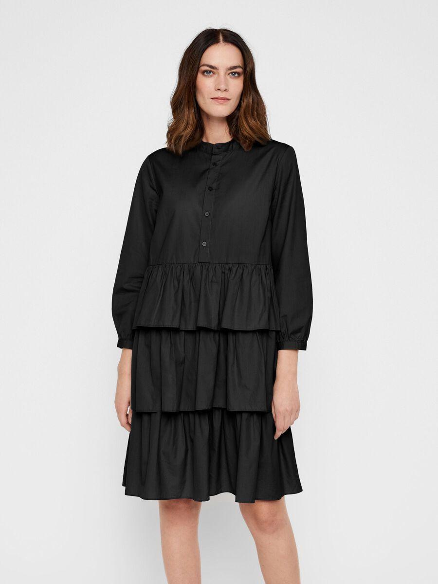 ORGANIC COTTON TIERED MINI DRESS, Black, highres