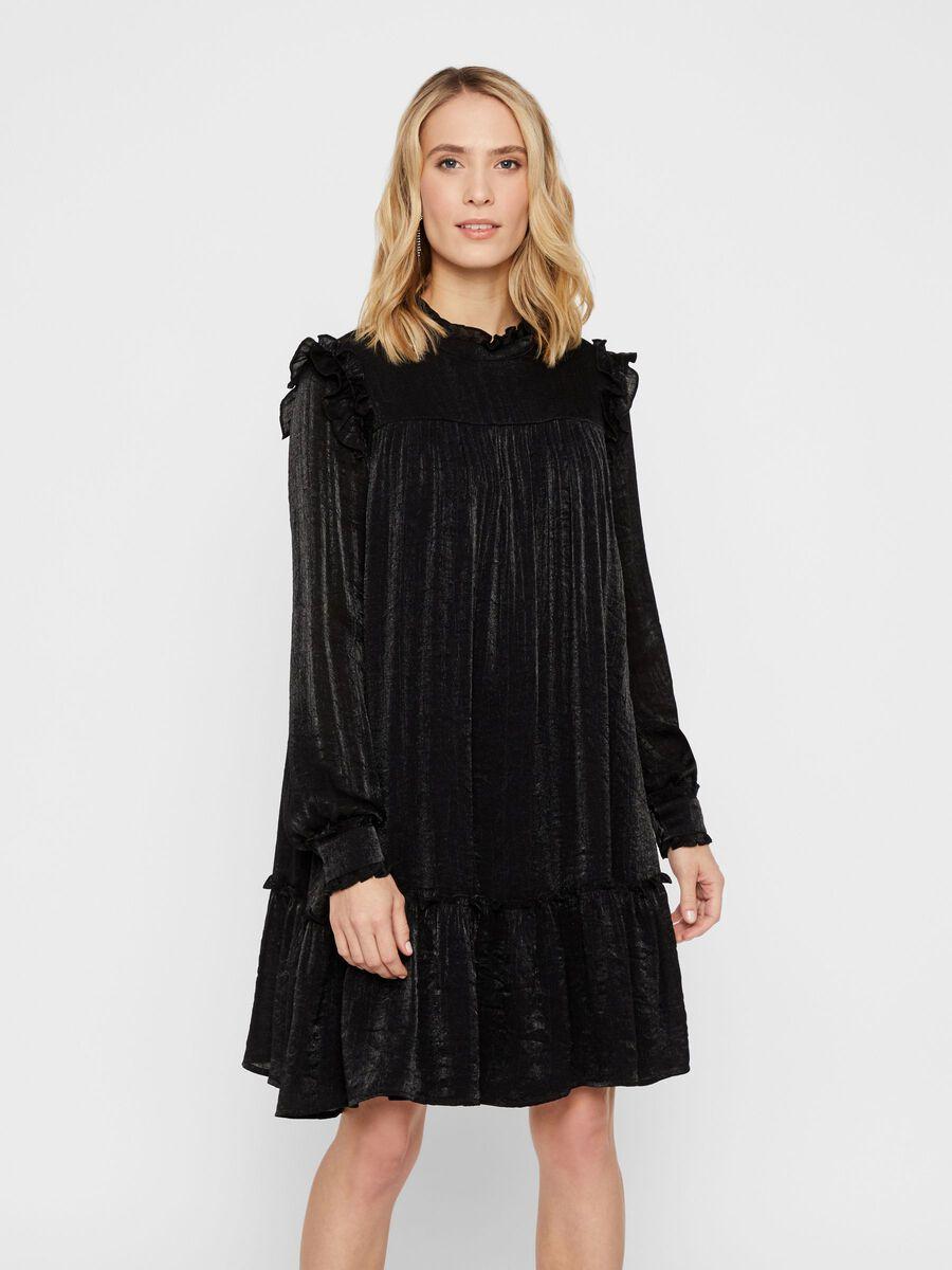 YASLABEL KNEE-LENGTH DRESS, Black, highres