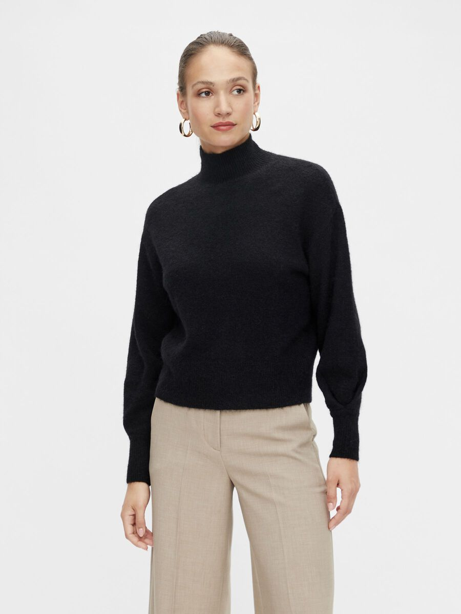 YASAGATE KNITTED PULLOVER, Black, highres