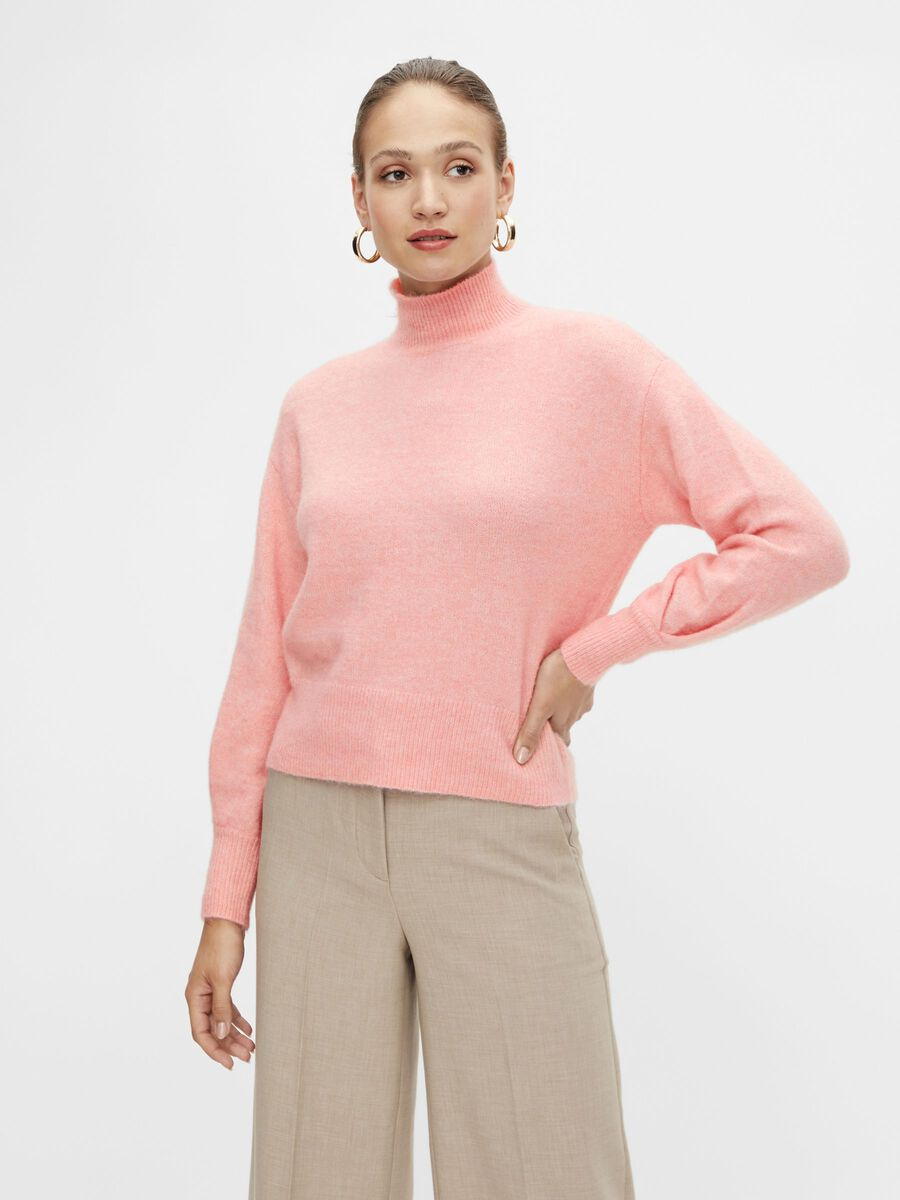YASAGATE KNITTED PULLOVER, Blush, highres